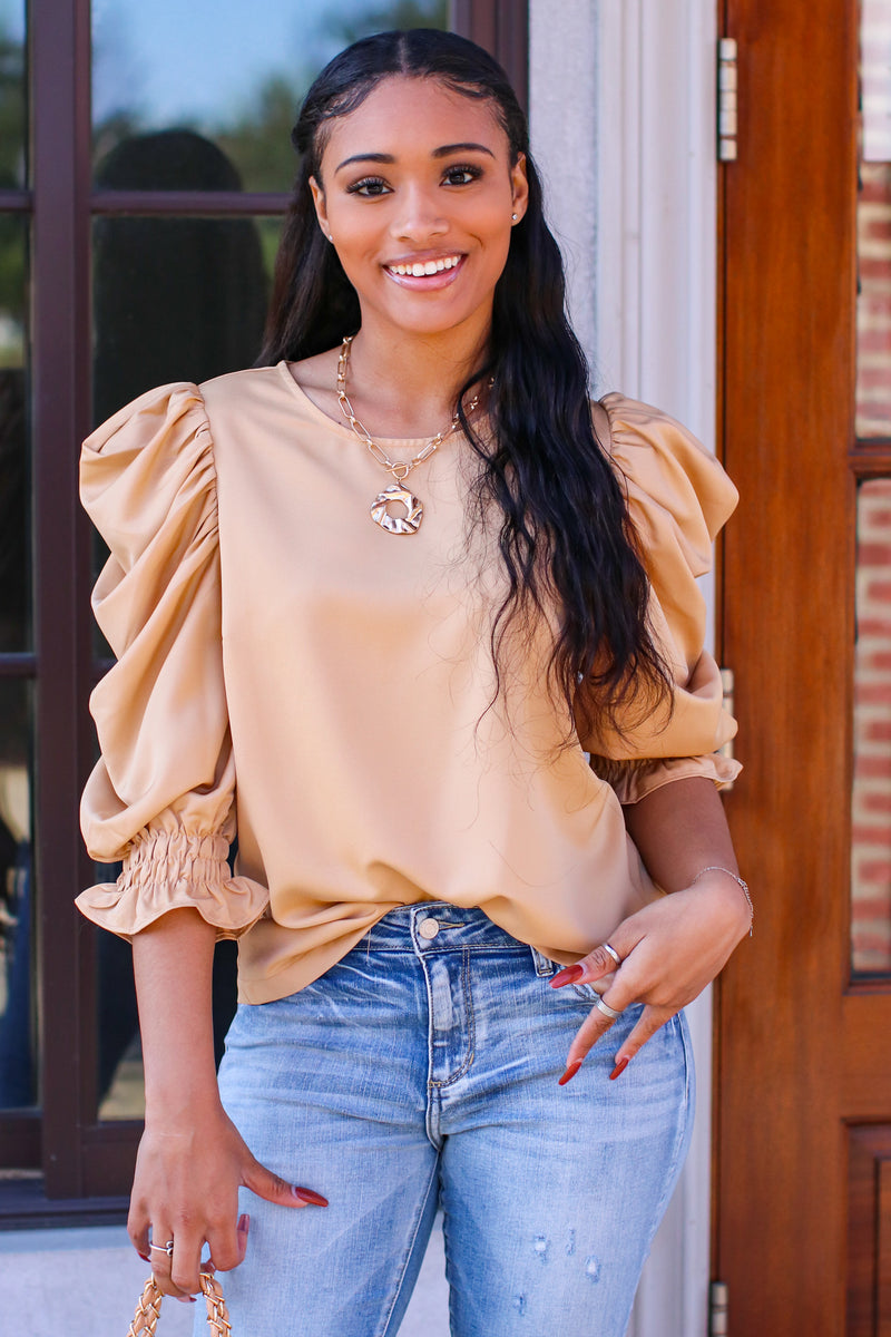 Tan / S With Finesse Puff Sleeve Top - Madison and Mallory