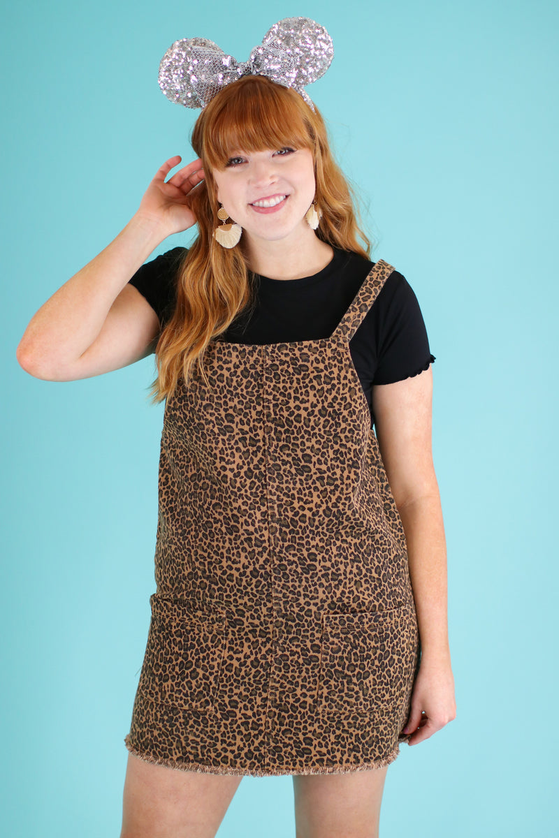 Feline Good Leopard Overall Dress - FINAL SALE - Madison and Mallory