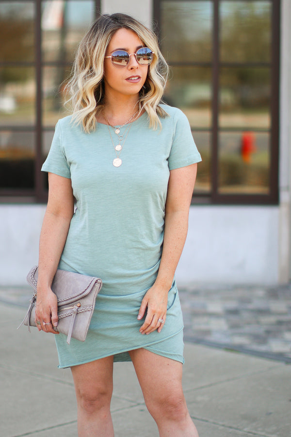 Saria Ruched Shirt Dress - Sage - FINAL SALE - Madison + Mallory