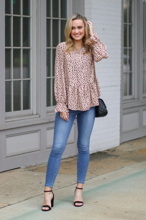 Yours Truly Printed Ruffle Hem Top - Madison + Mallory