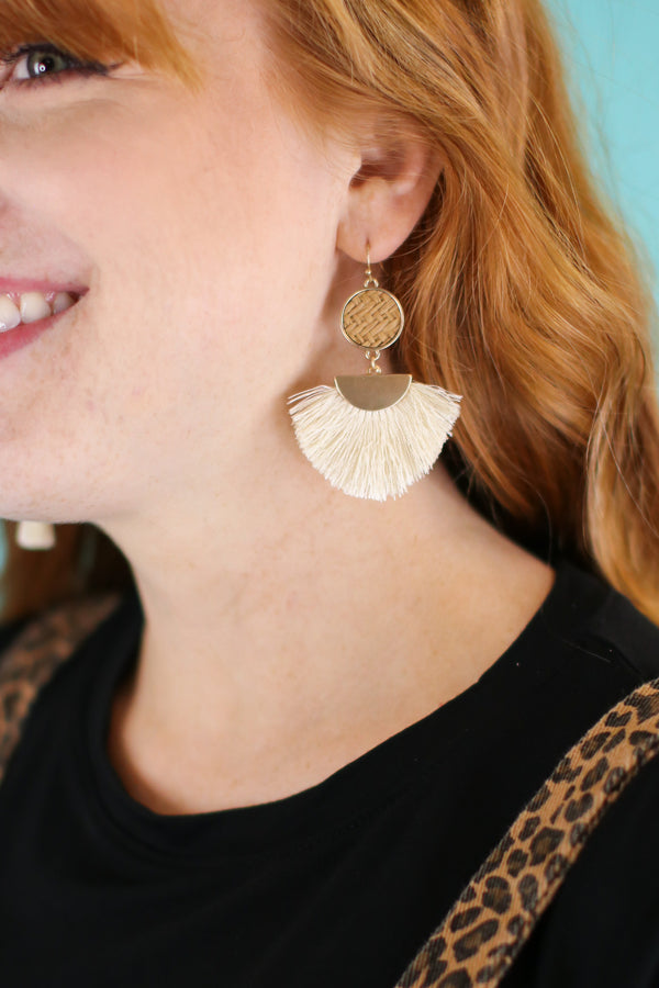 Ivory Island Time Rattan Fan Earrings - Madison and Mallory