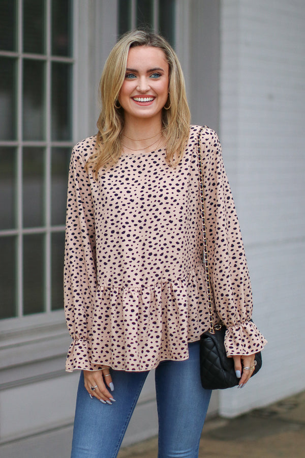 S / Taupe Yours Truly Printed Ruffle Hem Top - Madison + Mallory