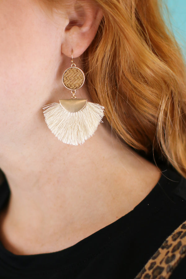 Island Time Rattan Fan Earrings - Madison and Mallory