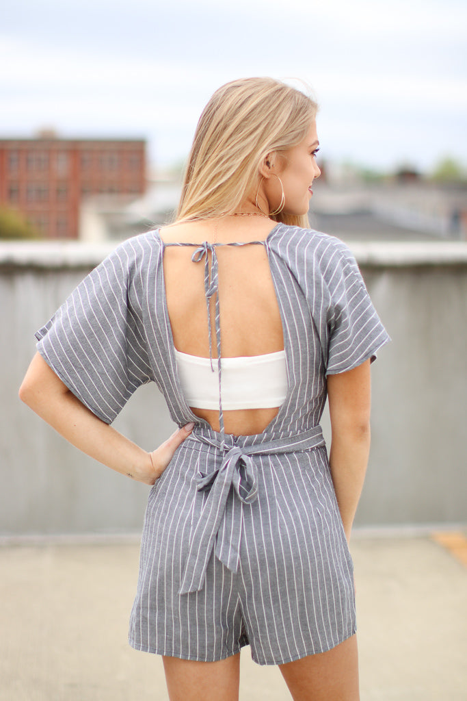 Short Sleeve Striped Romper - Madison + Mallory