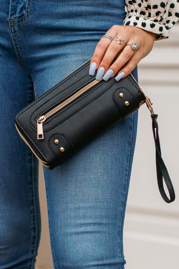 Black New York Minute Zip Wallet - FINAL SALE - Madison + Mallory