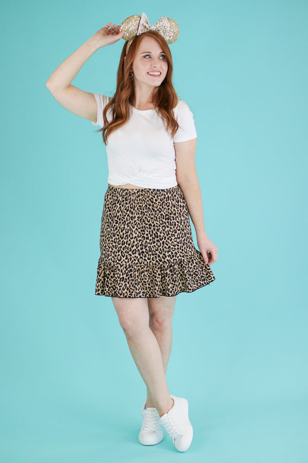 Steps Ahead Leopard Ruffle Skirt - FINAL SALE - Madison and Mallory