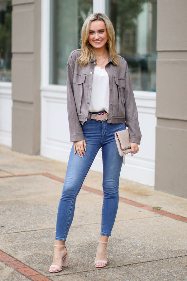 S / Gray Approval Notice Faux Suede Jacket - Madison + Mallory