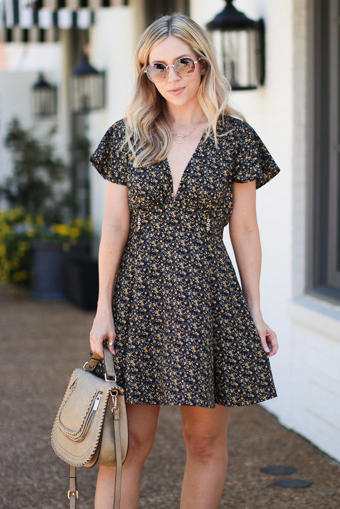 Meilani Ditsy Floral Dress - Black - FINAL SALE - Madison + Mallory