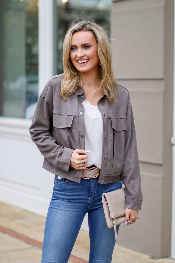 Approval Notice Faux Suede Jacket - Madison + Mallory