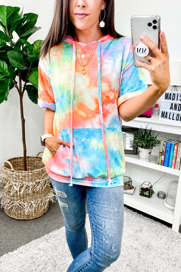 Drop a Beat Tie Dye Hooded Top - Madison and Mallory