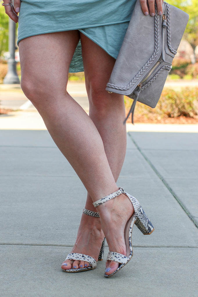 If You Want It Snakeskin Block Heels - FINAL SALE - Madison and Mallory