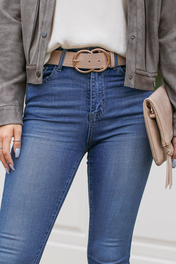 OS / Taupe Sleek Selection Double Ring Crocodile Belt - Taupe - Madison + Mallory