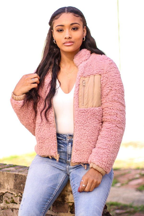 S / Mauve Westmont Reversible Sherpa Jacket - Madison and Mallory