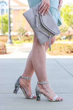 6 / Snake If You Want It Snakeskin Block Heels - FINAL SALE - Madison + Mallory