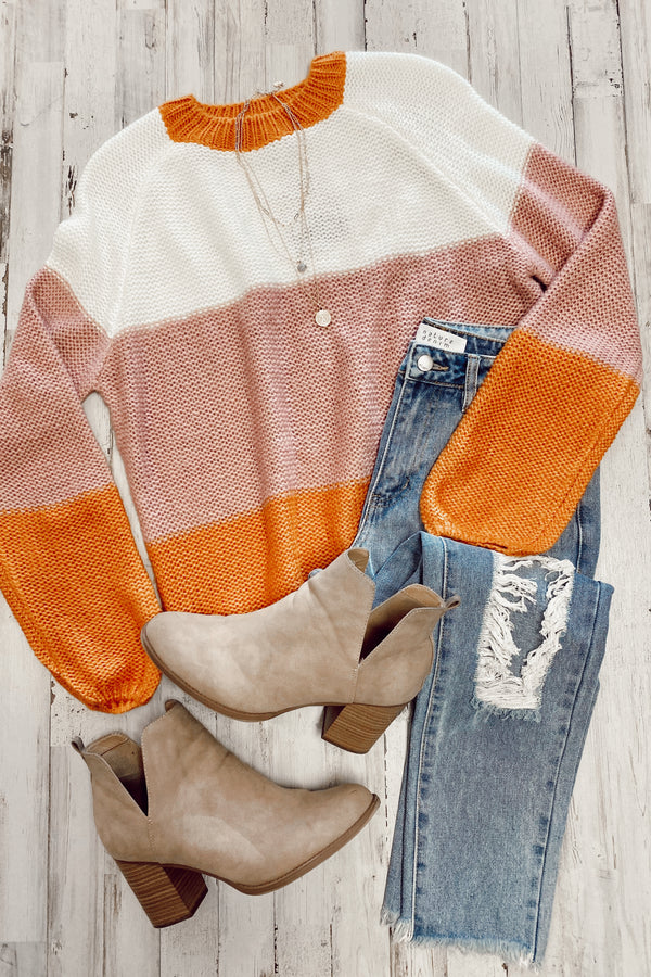 Talking Cozy Color Block Knit Sweater - Madison and Mallory