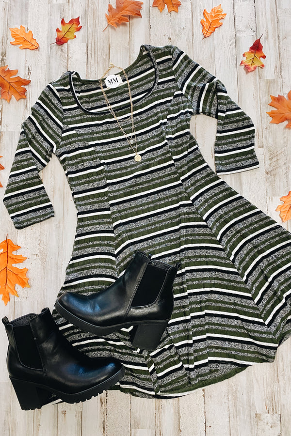 Selda Striped Fit and Flare Dress - FINAL SALE - Madison and Mallory