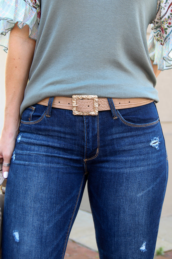 OS / Khaki Stylish Agenda Alligator Buckle Belt - Khaki - Madison + Mallory