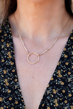 OS / Ivory This is It Circle Pendant Beaded Necklace - Madison + Mallory