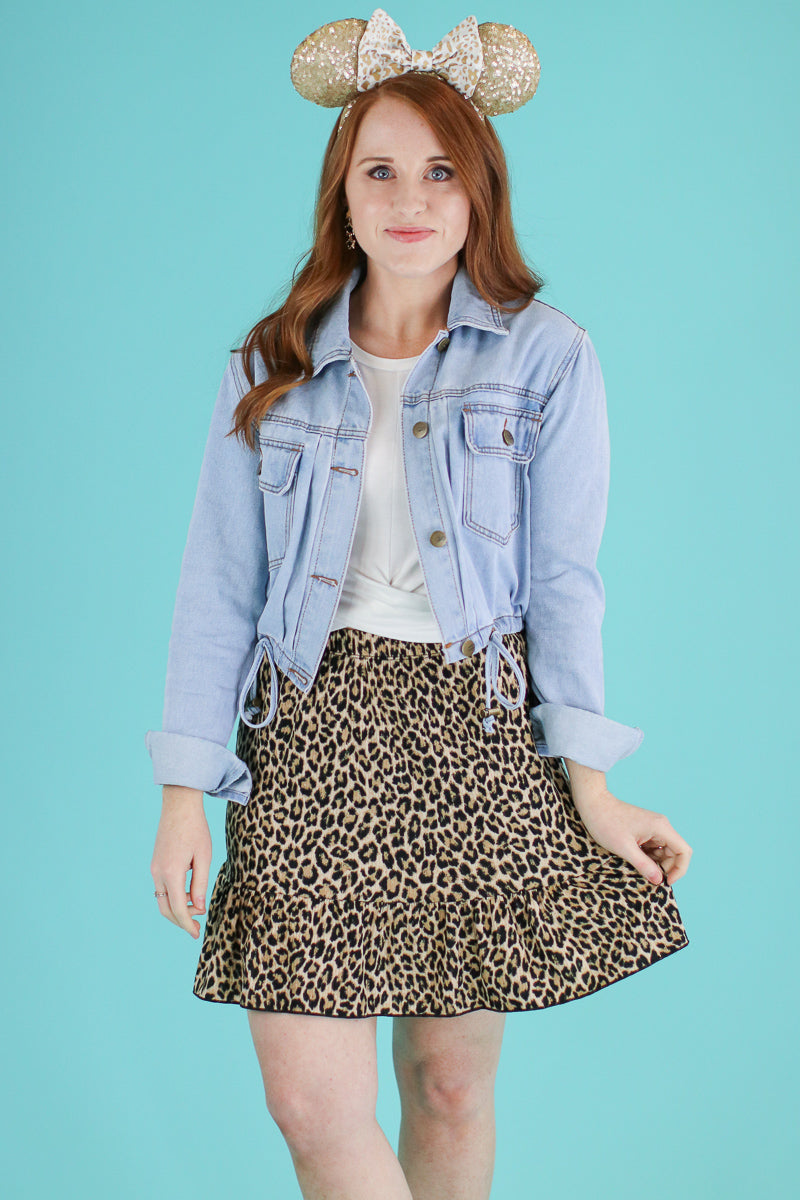 S / Mocha Steps Ahead Leopard Ruffle Skirt - FINAL SALE - Madison and Mallory
