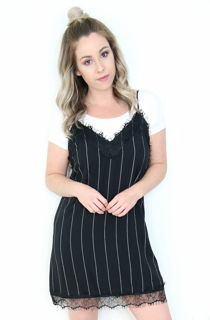 Lace Striped Slip Dress