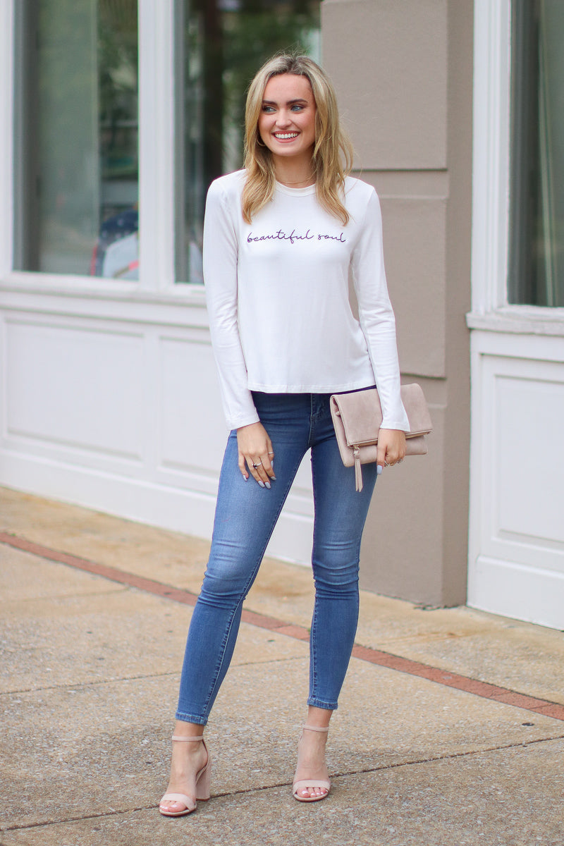 Beautiful Soul Embroidered Graphic Top - Madison + Mallory