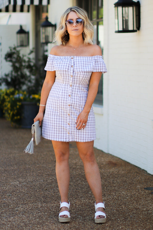 S / Gray Life's a Picnic Gingham Off Shoulder Dress | CURVE - Madison + Mallory