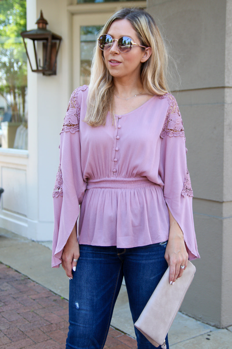 Mauve / S One Good Love Lace Top - Mauve - FINAL SALE - Madison + Mallory