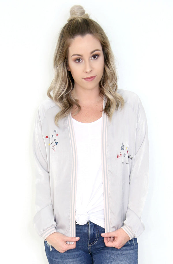 Embroidered Open Bomber Jacket - Madison + Mallory