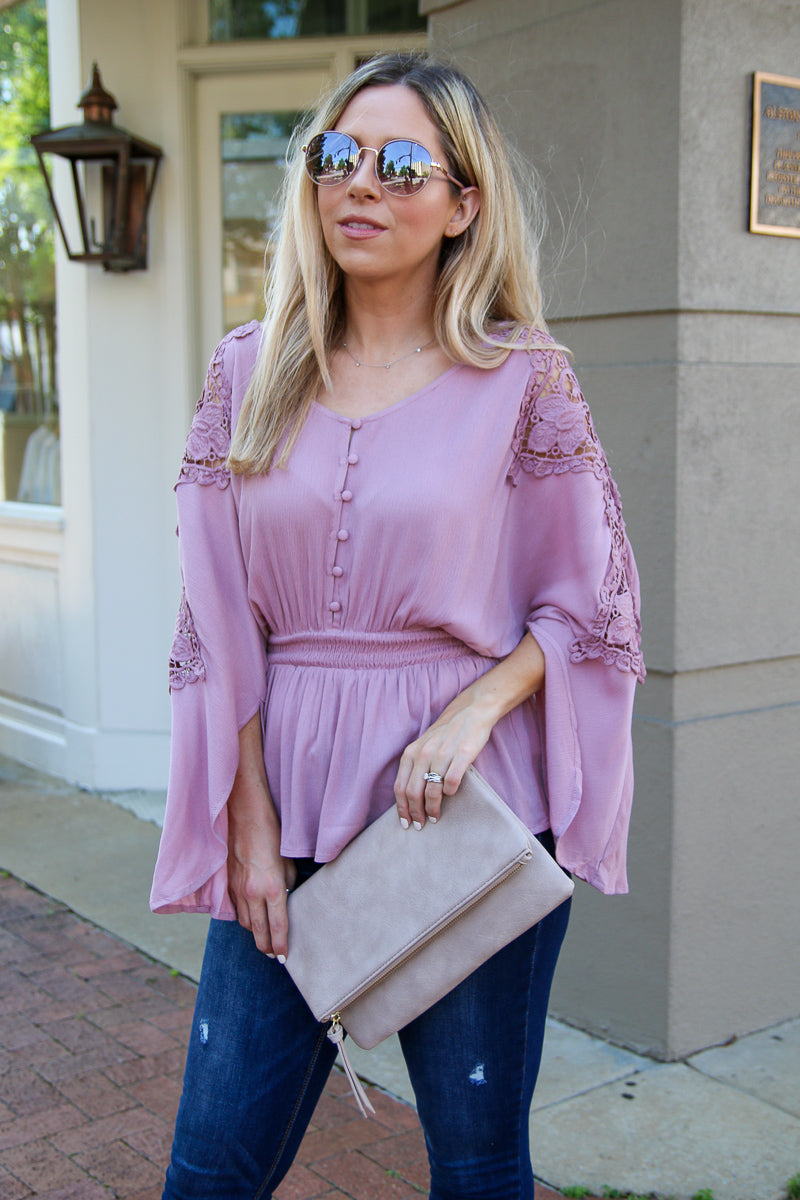 One Good Love Lace Top - Mauve - FINAL SALE - Madison + Mallory