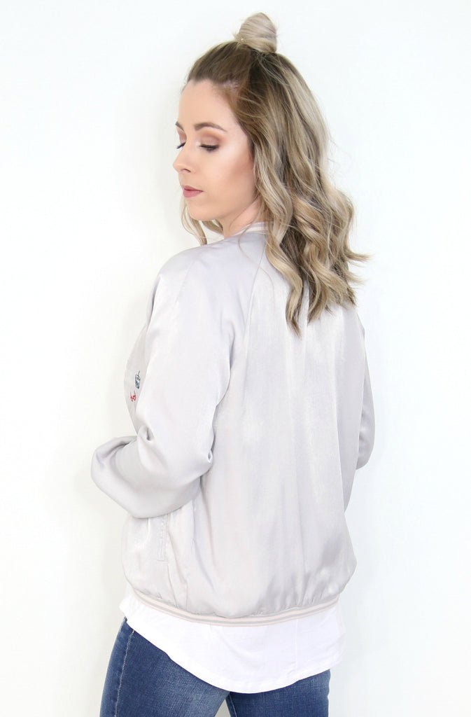 Embroidered Open Bomber Jacket