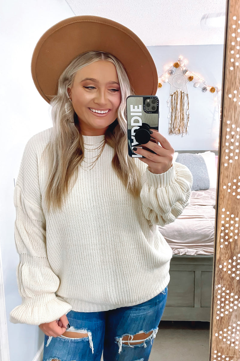 Kendyl Bubble Sleeve Sweater - Madison and Mallory