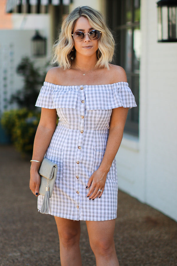 Life's a Picnic Gingham Off Shoulder Dress | CURVE - FINAL SALE - Madison + Mallory