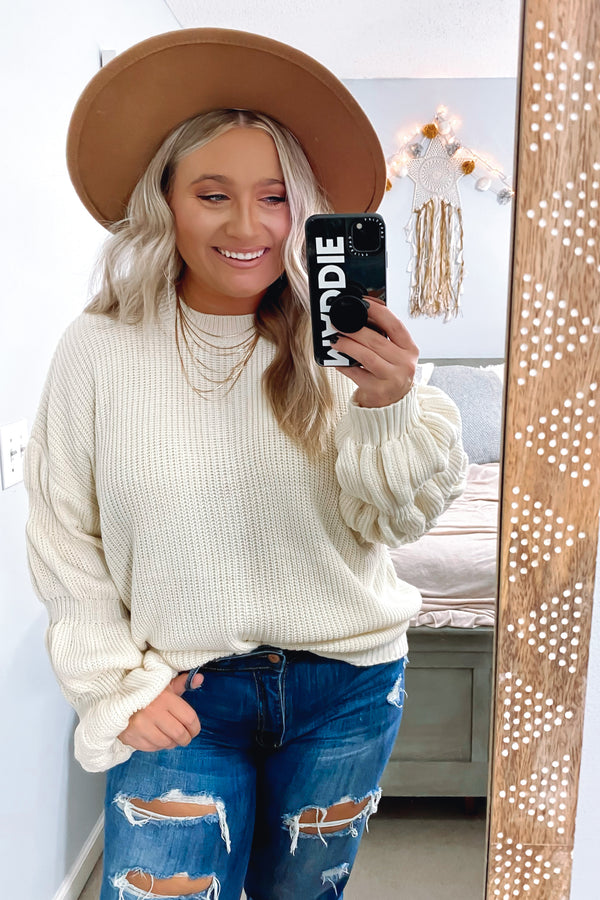 Ivory / S Kendyl Bubble Sleeve Sweater - Madison and Mallory