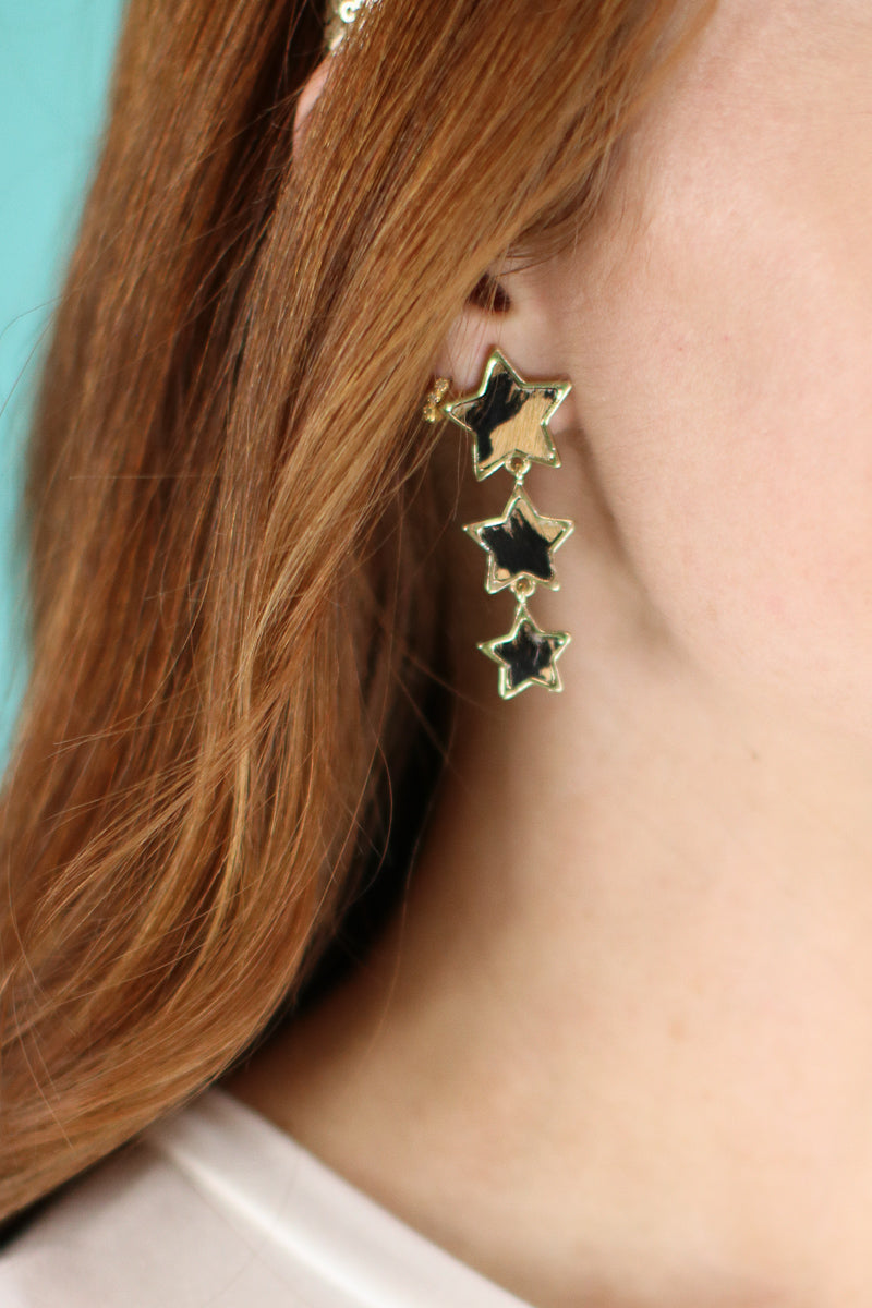 Wild Star Leopard Drop Earrings - Madison and Mallory
