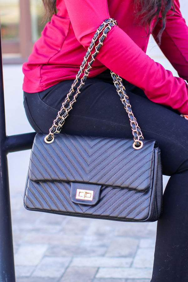 Black In Line with Style Quilted Flap Crossbody Bag - Madison and Mallory