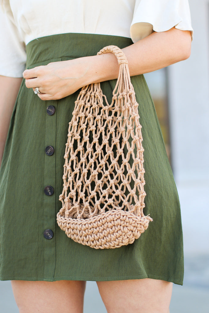Tan Coastal Road Crochet Mesh Bag - FINAL SALE - Madison and Mallory