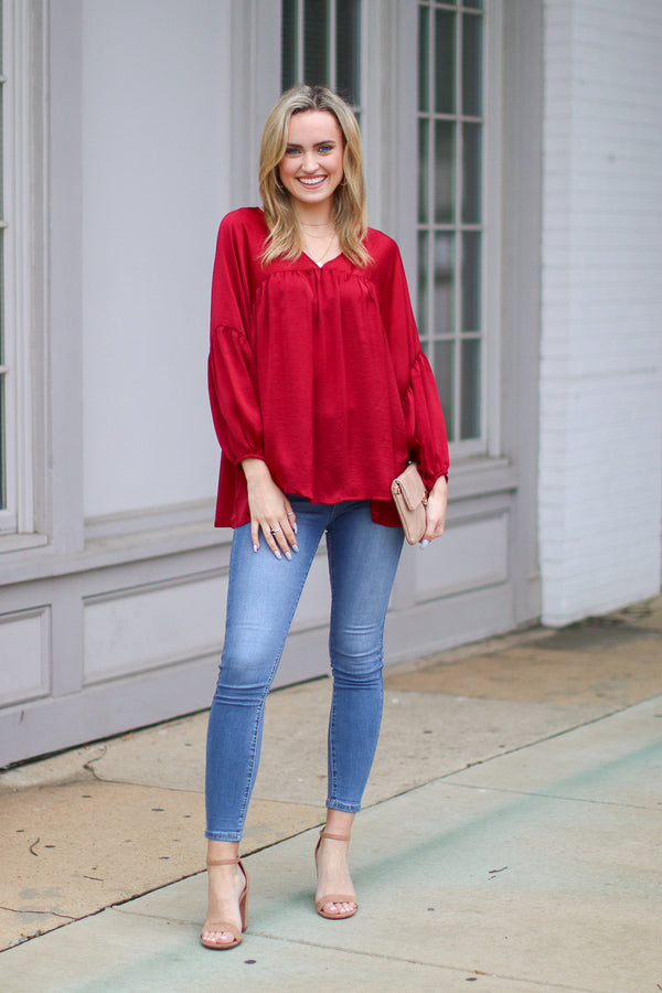 Invaluable Satin Flowy Top - Burgundy - Madison + Mallory