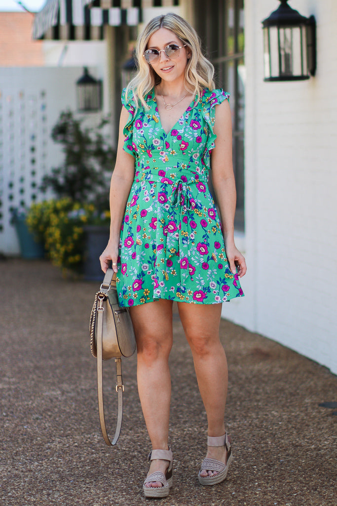 S / Green Shanelle Floral Ruffle Tie Dress | CURVE - FINAL SALE - Madison + Mallory