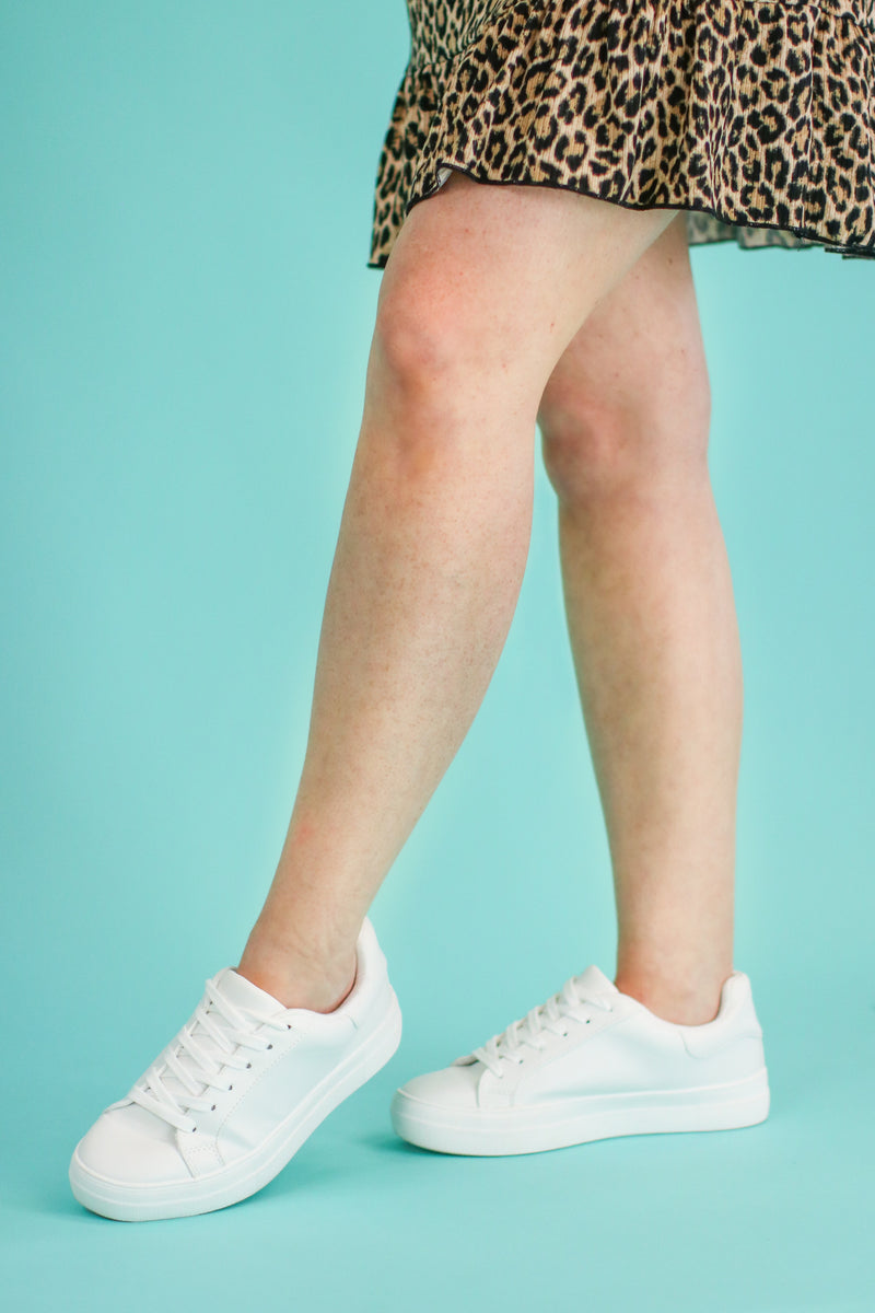 Going Anywhere Platform Sneakers - White - Madison and Mallory