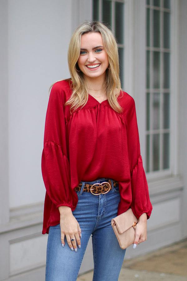 Burgundy / S Invaluable Satin Flowy Top - Burgundy - Madison + Mallory