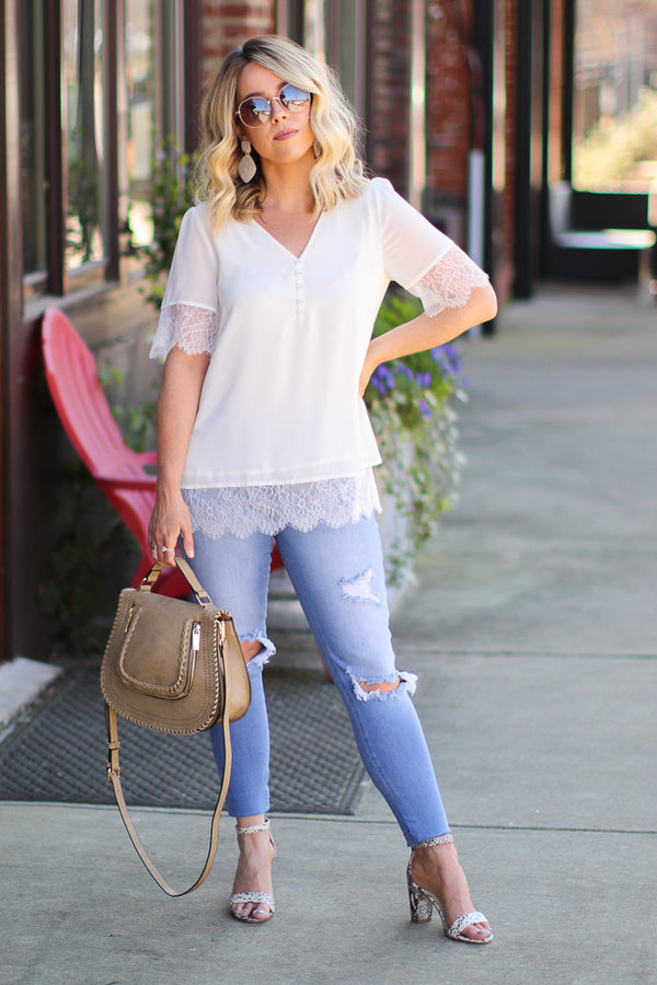Graceful Expectations Lace Detail Top - FINAL SALE - Madison + Mallory