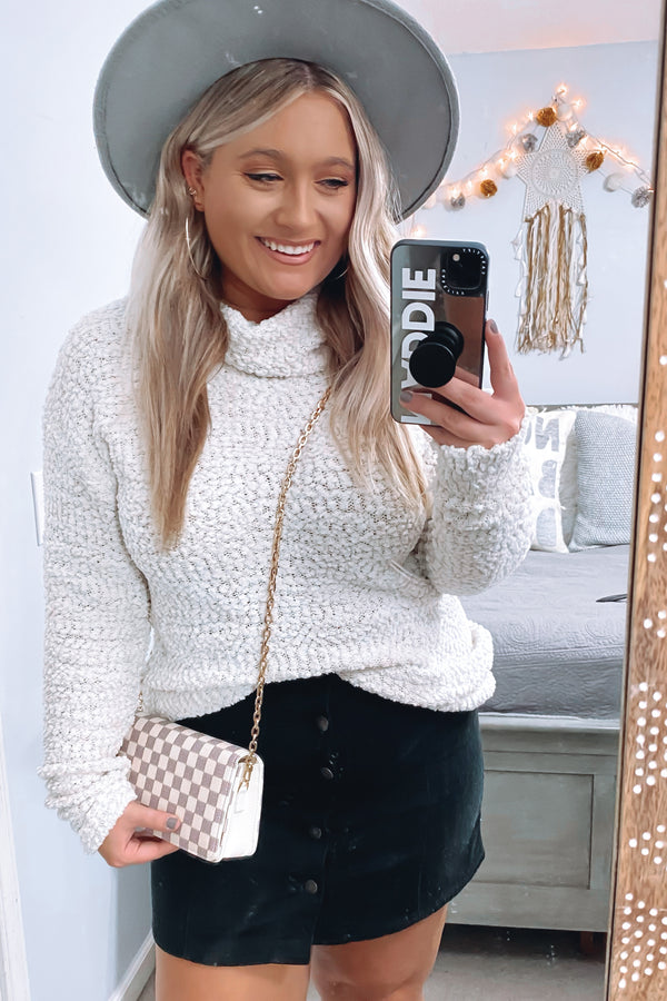 Natural / S Nash Popcorn Knit Turtleneck Sweater - Madison and Mallory