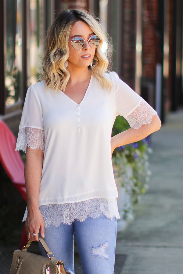 e08341677e62d ... S   Ivory Graceful Expectations Lace Detail Top - Madison + Mallory