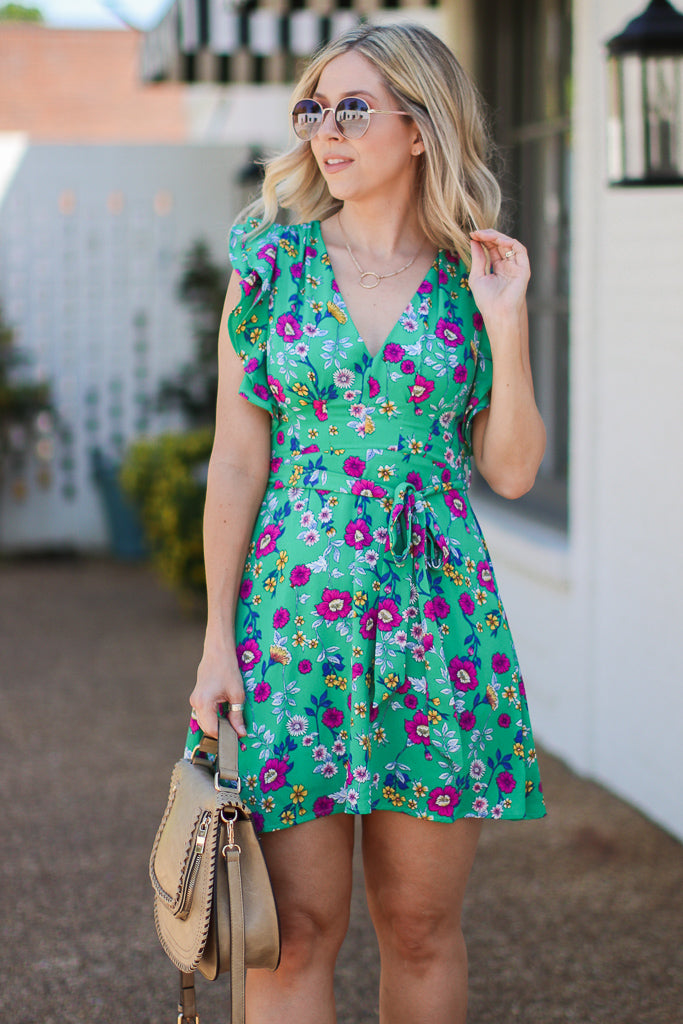 M / Green Shanelle Floral Ruffle Tie Dress | CURVE - FINAL SALE - Madison + Mallory