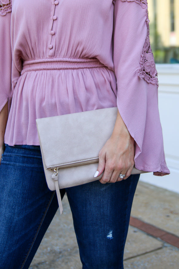Ezra Fold Over Clutch - Taupe - Madison + Mallory