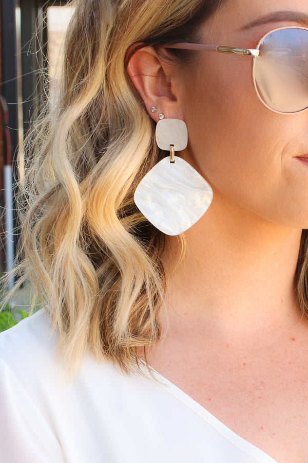 Ivory Moonlight Acrylic Drop Earrings - Madison + Mallory