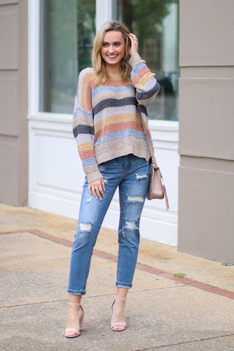 Turn the Music Up Striped Knit Sweater - Madison + Mallory