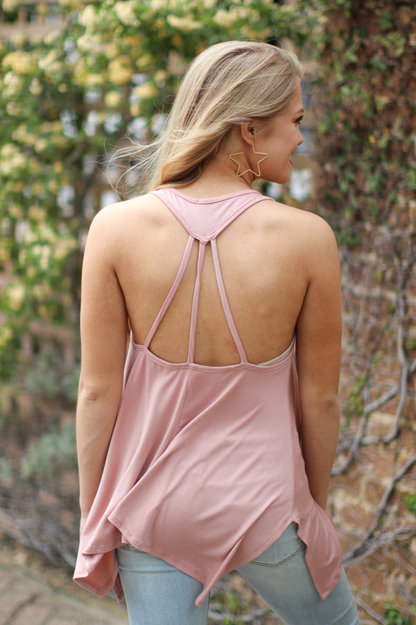 Blush Strappy Back Tank - Madison + Mallory