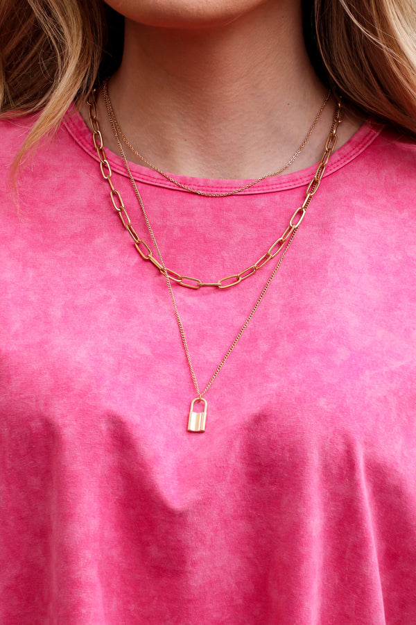 Gold Total Package Lock Charm Layered Necklace - Madison and Mallory
