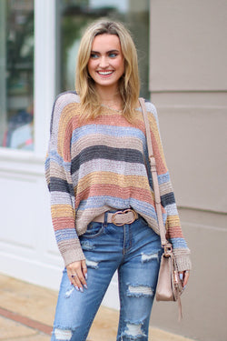 S / Mustard Turn the Music Up Striped Knit Sweater - Madison + Mallory